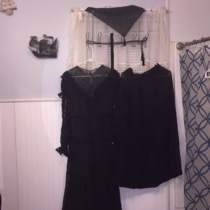 Vintage black lace Five piece set
